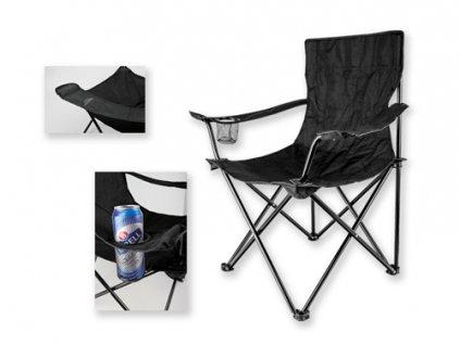 001264-10  černá skládací kovová židle na kamping. Přenosná židle, skládací křeslo na ryby