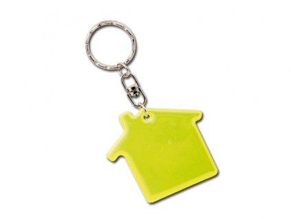 001152-80 reflexní přívěšek na klíče, domeček. Reflexní doplnky skladem. Levný potisk.