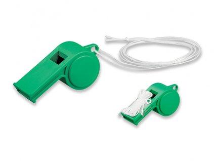 021015-40 plastová píšťalka s textilní šňůrkou zelená