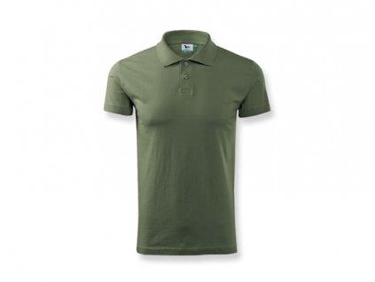032900-55 Khaki zelené tričko s límečkem*hladý úplet*potisk a prodej reklamních triček a textilu pro firmy