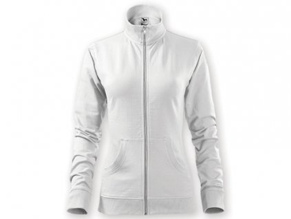 035373-90 bílá* Dámská projmutá mikina celorozepínací bez kapuce* reklamní textil*reklamní potisk*výšivka pro firmy