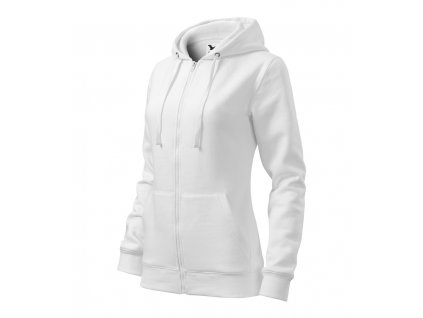 035217-90 bílá*dámská bavlněná projmutá mikinna s dvěmi kapsami a kapsami a kapucí