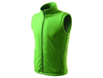 032256- zelená*á fleecová vesta*vesty bez rukáv*vesta firemní potisk loga* reklamní vesty