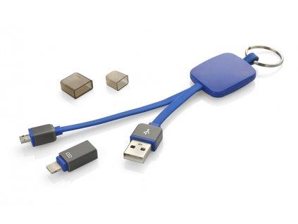 B45009-03|REKLAMNÍ USB DOBÍJECÍ KABELY|DOBÍJECÍ KABEL PRO ANDROID, IPHONE A MOBILY|usb kabel jako přívěsek na klíče|modrá