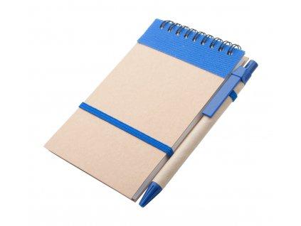 M731629-06/BLOKY, NOTESY A ZÁPISNÍKY S VLASTNÍM LOGEM A TISKEM/Papírový reklamní zápisník z recyklovatelného papíru a eko propiska/Reklamní potisk na propisky i blok/MODRÁ
