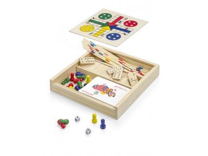 Domino, karty, člověče nezlob se|Dětské dřevěné společenské hry