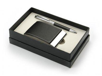 B17026 Dárková sada kuličkové pero a vizitkovník z eko kůže
