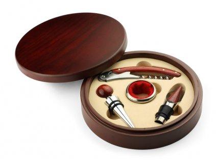 0017541 Dárková luxusní sada na víno|kovový otvírák na víno|zátka na víno|odkapávací kroužek na víno|nálevka na víno