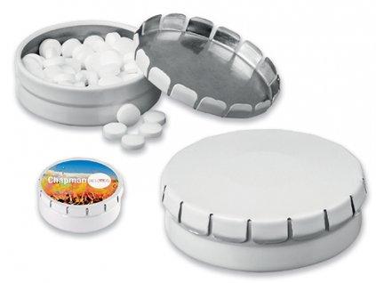 097709|Reklamní mentolové bonbony v plechové krabičce|reklamní cukrovinky dárek pro obchodní partnery