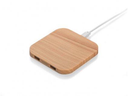 B09086|Bezdrátové nabíjení mobilních telefonů|Bezdrátová indukční nabíječka na telefony|Dřevo