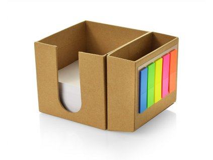 B17646|Papírová kostka + poznámkové bílé papírky + barevné samolepící záložky + kancelářský stojánek na psací potřeby