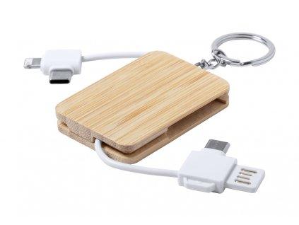 M722043 01/ Přívěsky, přívěšky a klíčenky s kroužkem na klíče/ s USB nabíjecím kabelem/ BAMBUSOVÉ REKLAMNÍ PŘEDMĚTY/ ELEKTRONIKA/ EKOLOGICKÉ PŘEDMĚTY NA POTISK LOGEM FIRMY/ ADONAI.CZ