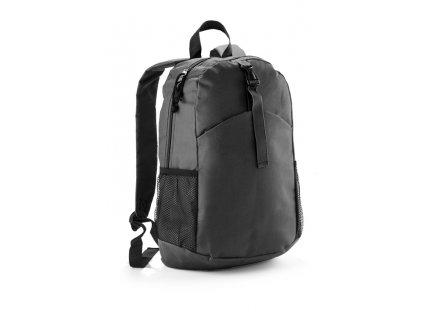 B20298-02|Cestocní reklamní batoh|Batohy s potiskem i bez potisku|Černý batoh s dvěma kapsami p stranách batohu