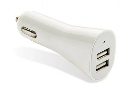 B09098 02|USB nabíječka do auta|Reklamní elektronika|Reklamní předměty|Bílá