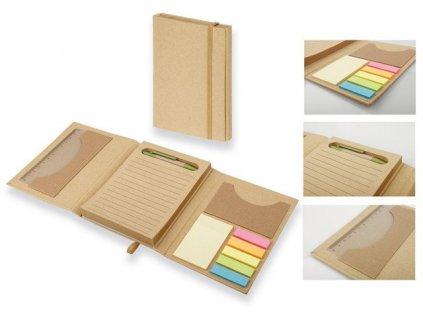 B17544|ekologické papírové linkované zápisníky a bloky|zápisníky s perem|BArevné lepící papírky|ekologické reklamní předměty a dárky s potiskem loga firmy