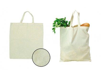M731886|Přírodní bavlněná látková taška s krátkým uchem|Reklamní potisk|na tašky ze 100 % bavlny|TAšky extra pevné