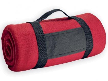 M761799-05|Deka|Deky|Cestovní fleecová deka s držadlem|Reklamní předměty s potiskem i bez potisku|červená
