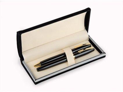 B19219|Luxusní psací sady|luxusní pero v dárkovém balení|černé pero se zlatými doplňky|Reklamní psací potřeby|Reklamní potisk|černá