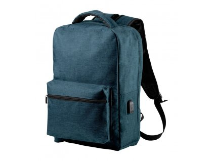 AD721436-06|Reklamní batoh s potiskem|RFID batohy s ochranou proti elektronické krádeži a USB vstupem|modrá