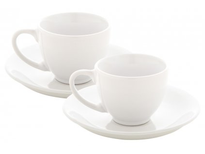 m862010|šálky a podšálky|dárková sada 2 ks šálek s podšálkem|bílý šálek s podšálkem na kávu malé espresso|reklamní potisk loga firmy|Adonai.cz