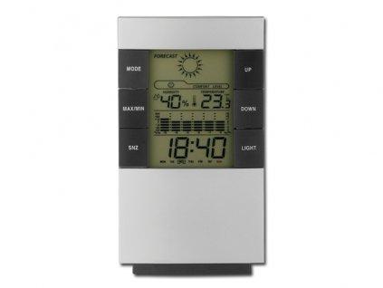 042052-19 stříbrná meteostanice s hodinami
