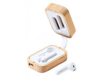 M721931/ bezdtrátová nabíjecí sluchátka/ handsfree sluchátka/ bambusová krabička/ eko firemní dárky