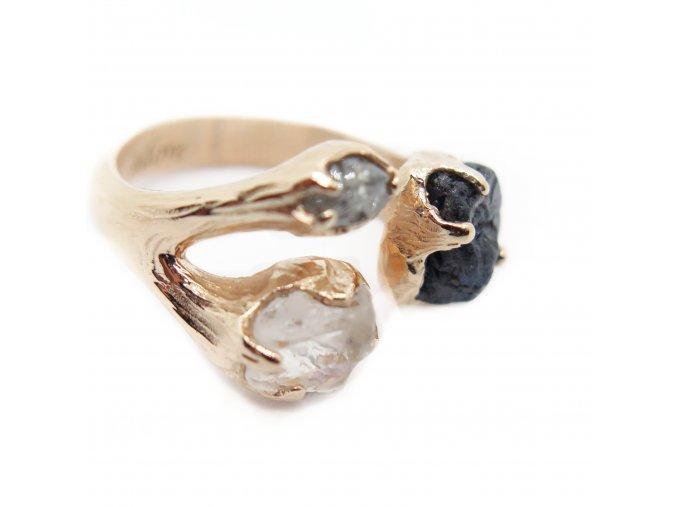 Turmalín, opál, šedý raw diamant