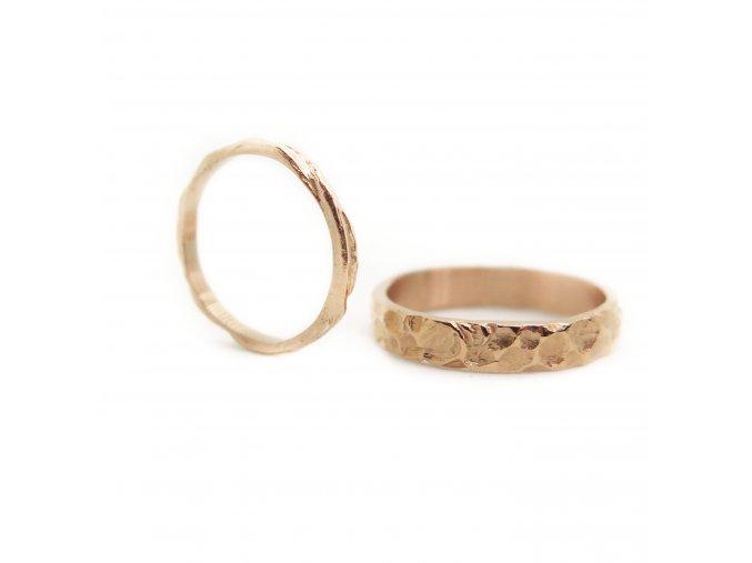 set prsteny svatební, matné nebo lesklé tenší styl