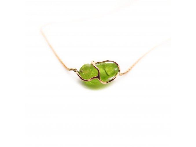 Náhrdelník - olivín, rubín, ametyst...