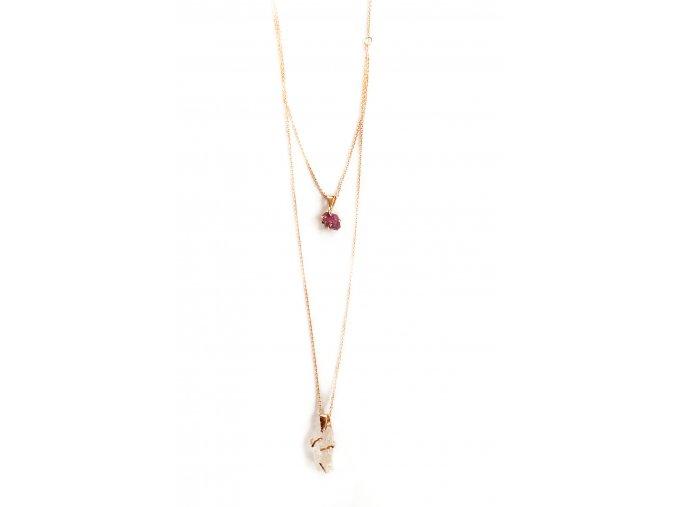 Dvojitý náhrdelník - rubín, morganit