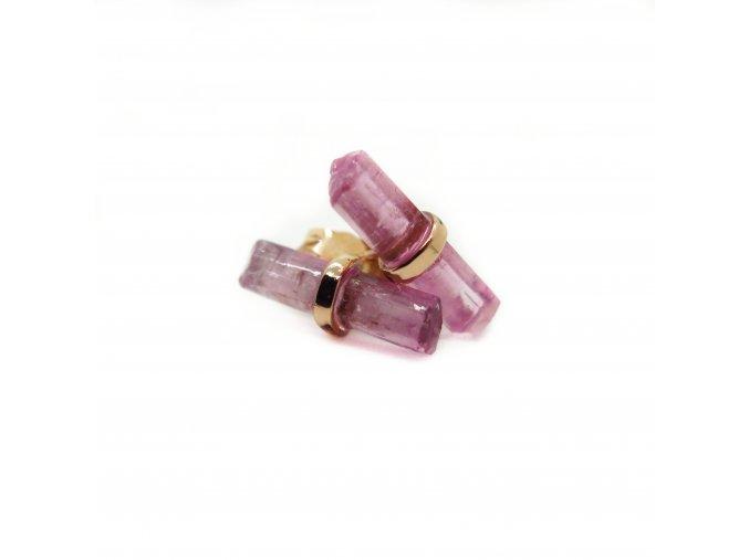náušnice - turmalíny ruličky jednoduché různé barvy