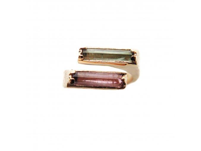 prsten turmalín zelený a růžový