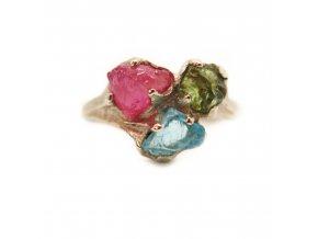 prsten - olivín, rubín, apatit