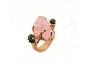 Prsten - morganit, smaragdy