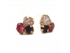 naušnice - rubín, safír modrý a růžový