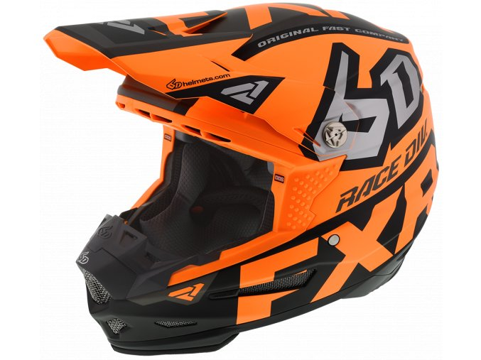 6DRaceDiv Helmet OrangeBlackWhite 200600 3010
