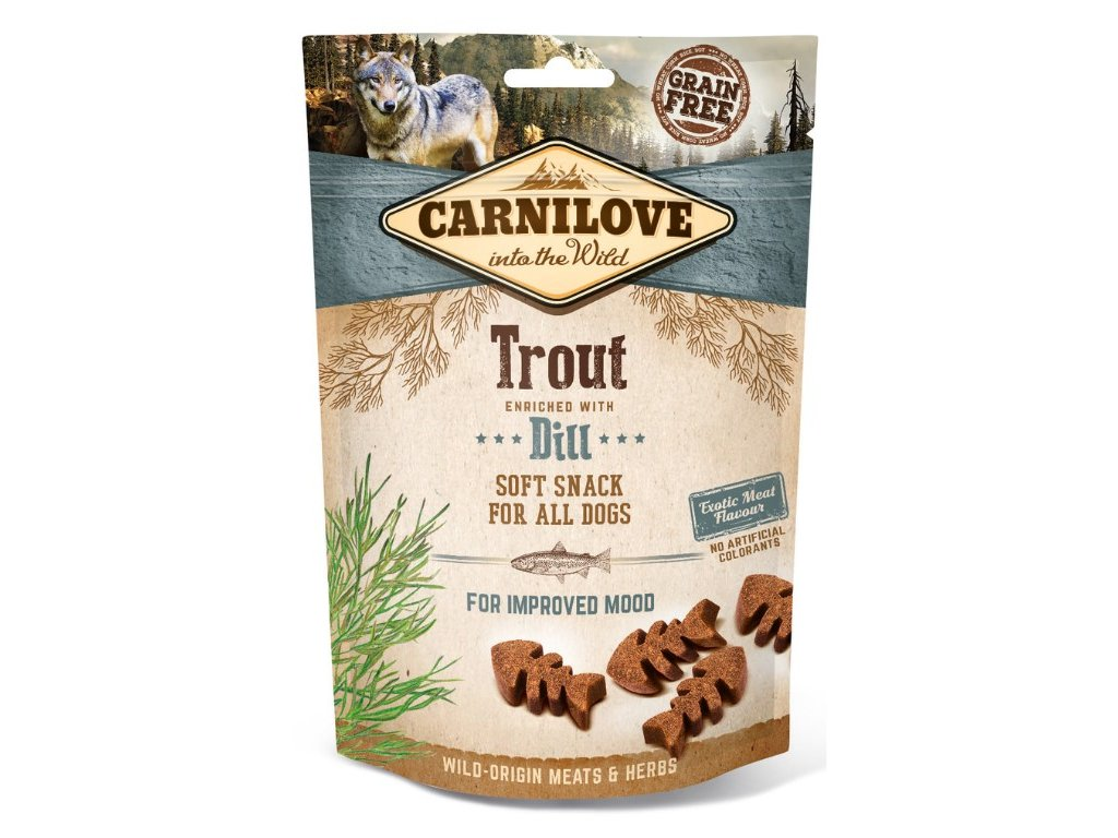 5253 carnilove dog semi moist snack trout dill 200g