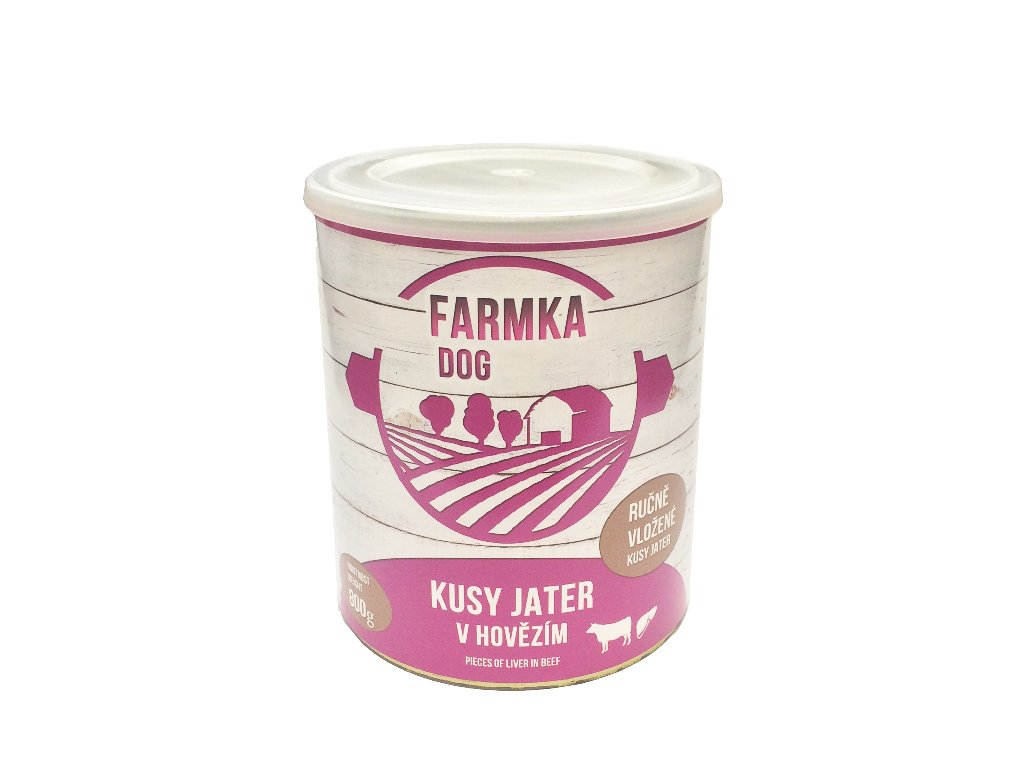 6990 farmka dog masova konzerva s jatry 800g