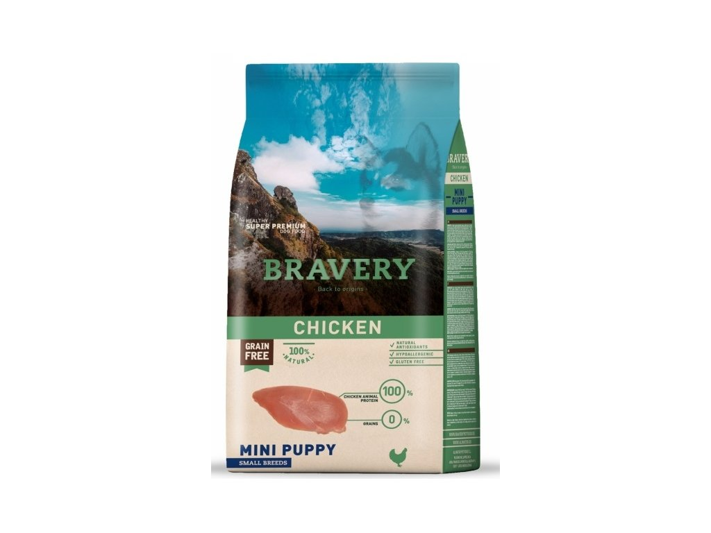 BRAVERY dog PUPPY MINI Grain Free chicken 2kg | Tenesco.cz