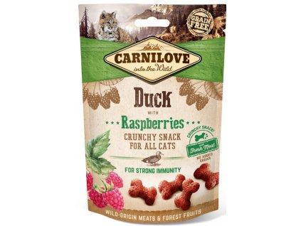 5268 carnilove cat crunchy snack duck raspberries 50g
