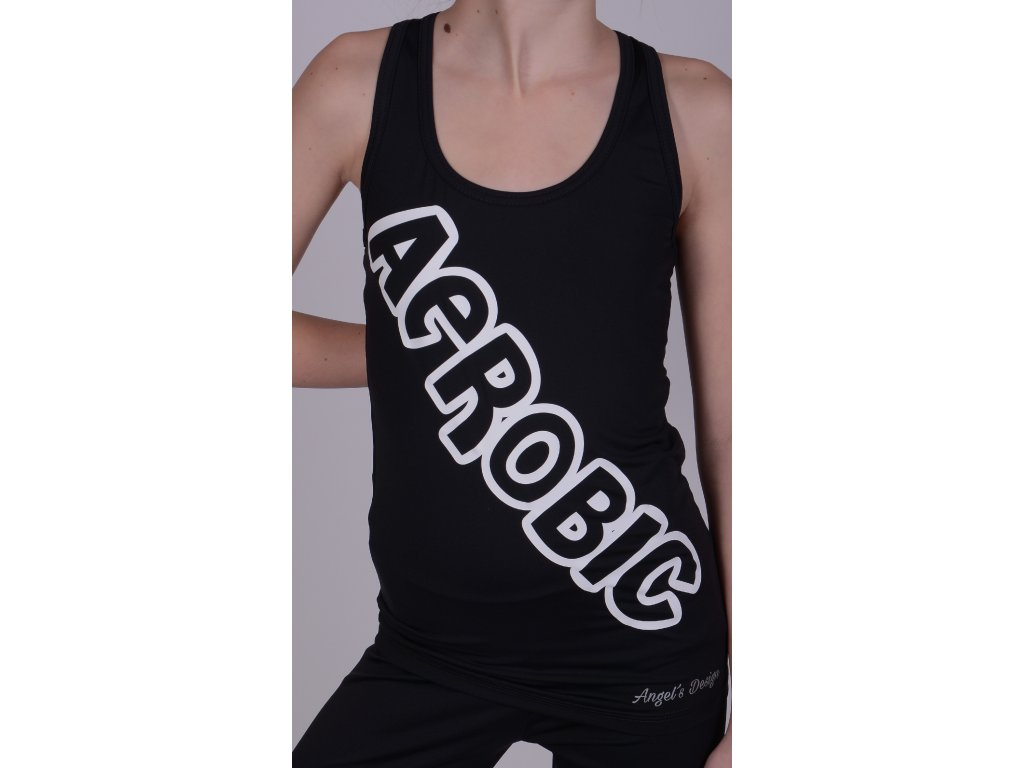 Tílko boxer černé, šikmý AEROBIC