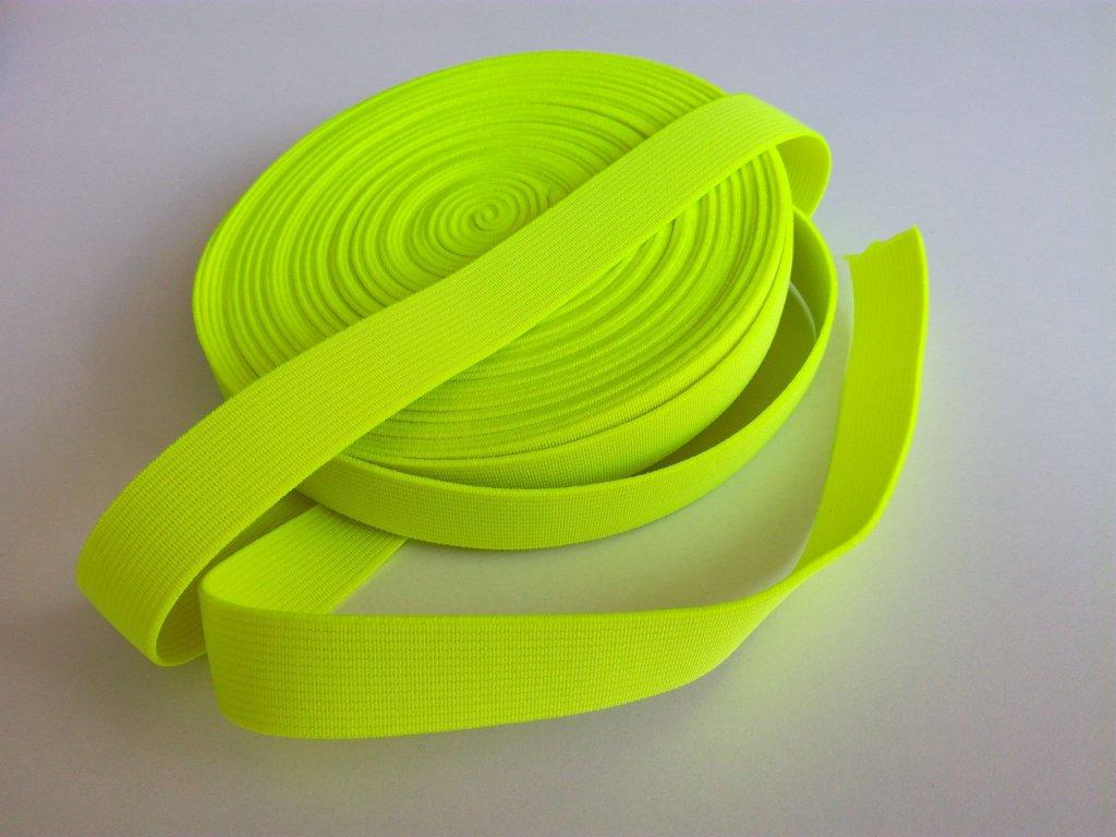 Tkaná pruženka 21mm neon žlutá tažnost 110% 83pes 17 elastan 14 Kč