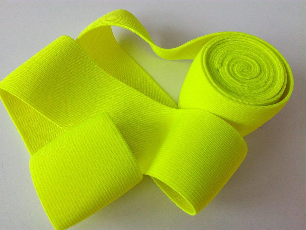 Tkaná pruženka 50mm neon žlutá tažnost 110% 83pes 17 elastan 30 Kč