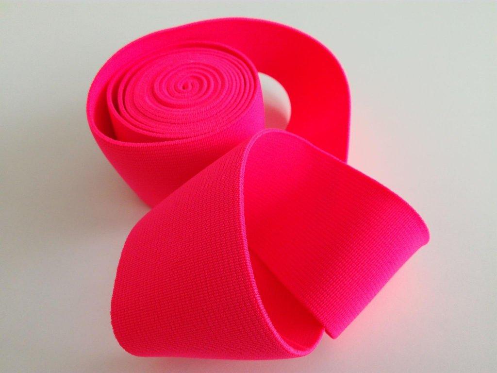 Tkaná pruženka 50mm neon růžová tažnost 110% 83pes 17 elastan 30 Kč