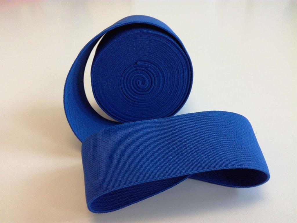 Tkaná pruženka 50mm modrá tažnost 110% 83pes 17 elastan 30 Kč