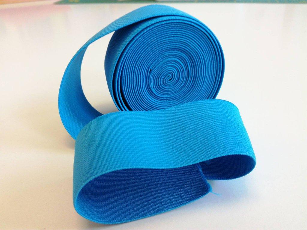 Tkaná pruženka 50mm tyrkys tažnost 110% 83pes 17 elastan 30 Kč