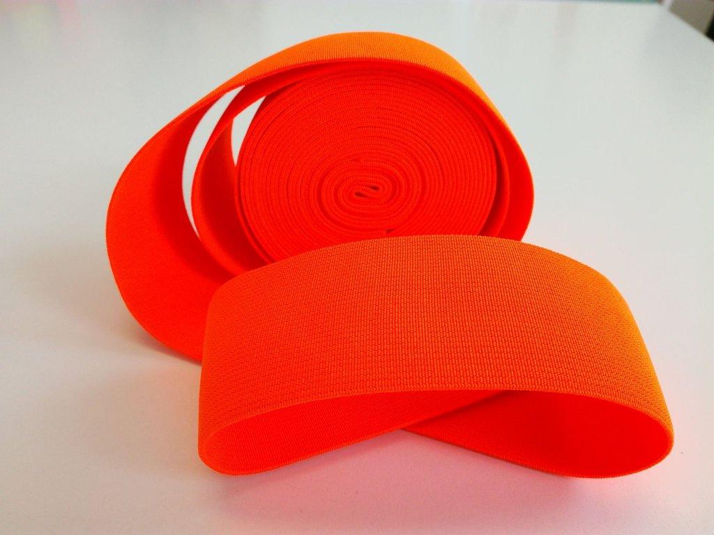 Tkaná pruženka 50mm neon oranztažnost 110% 83pes 17 elastan 30 Kč