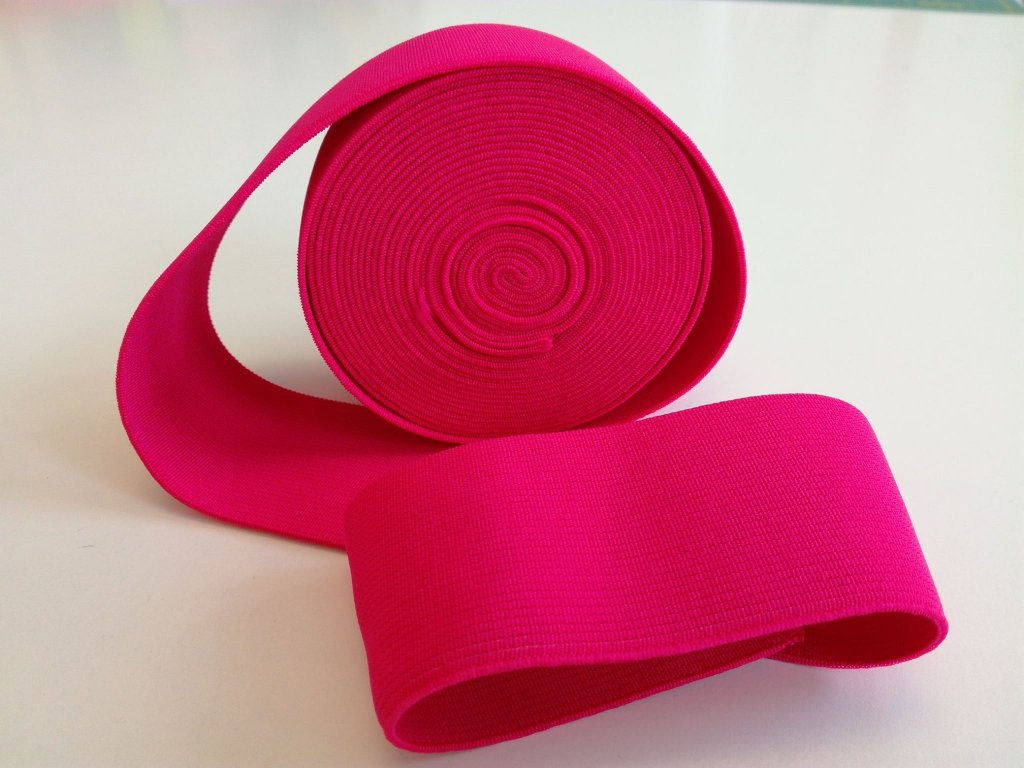 Tkaná pruženka 50mm malina tažnost 110% 83pes 17 elastan 30 Kč