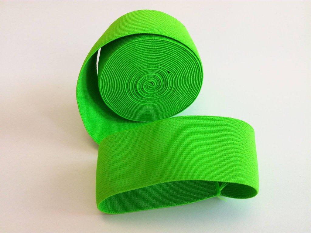 Tkaná pruženka 50mm neon zelená tažnost 110% 83pes 17 elastan 30 Kč