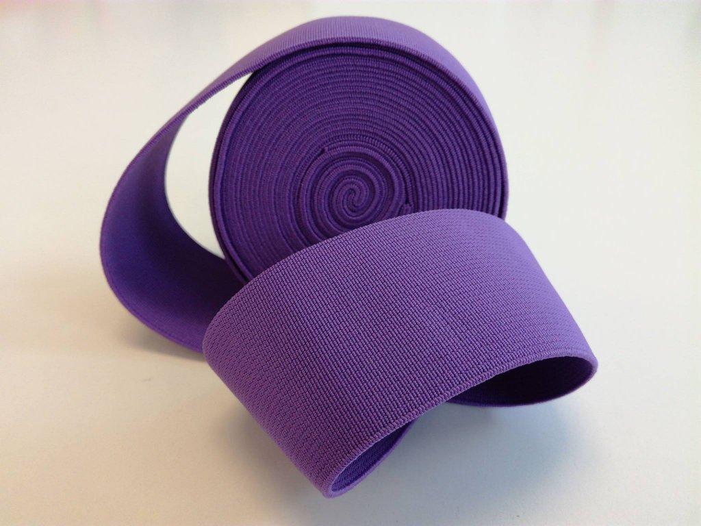 Tkaná pruženka 50mm fialová, tažnost 110% 83pes 17 elastan 30 Kč